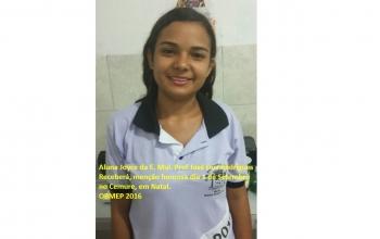 Aluna premiada na Olimpíada Brasileira de Matemática das Escolas Públicas (OBMEP)