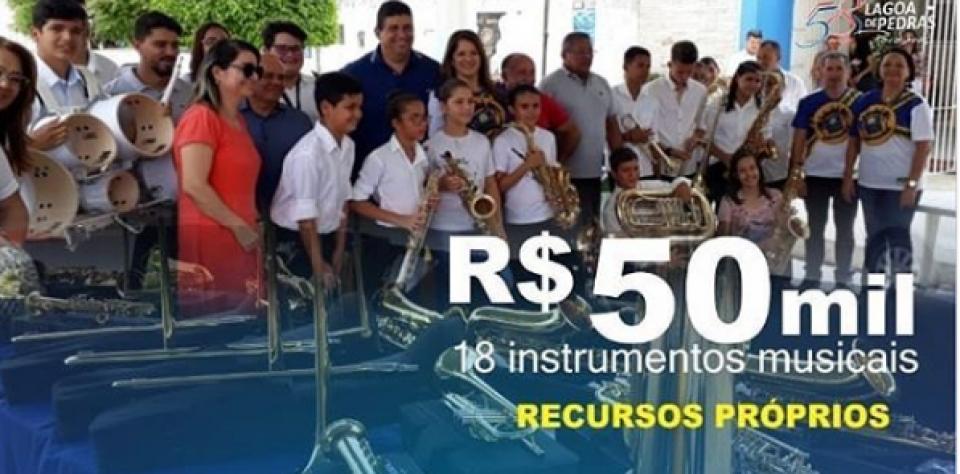 Prefeitura disponibiliza instrumentos para a Banda Municipal Prefeito José Arlindo da Silva.